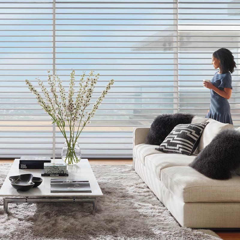 White window shades with light grey couch and blue and white pillows